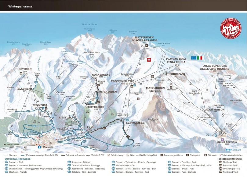 Mapa de Lifts Zermatt
